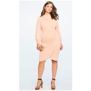 Eloquii Drape Front Mock Neck Dress maroon